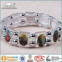 Catholic Clear Transparent Plastic Saint Rosary Bracelet