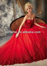 JMW070 2013 New design shiny beaded puffy organza skirt red ball gown wedding dress