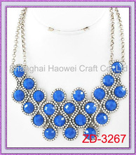 ZD-3267 Antique Silver Abstract Round Blue Stone Necklace letter love pendant necklace make stone necklace handmade stone