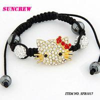 New Arrival fashion bracelet Hello kitty Shamballa beads bracelet with Crystal bracelet