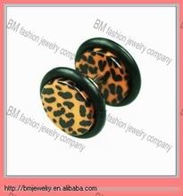 Acrylic sexy leopard skin color fake ear plug body piercing jewlery