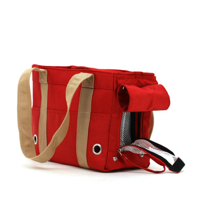 Red Khaki Canvas Dog Cat Bag Pet Carrier