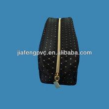 Hot sale elegant black PU packaging bag with nylon zipper for lady/women