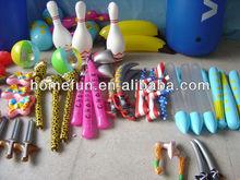 2013 baratos chico de vinilo impreso juguetes inflables- cuchillo y bolos