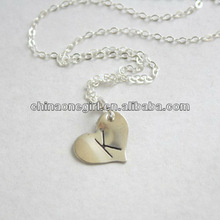 Custom Initial Monogrammed Heart Pendant Necklace