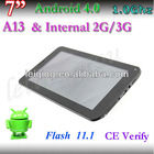 3G WCDMA 7inch android 4.0 tablet, phone calling tablet pc support 2100