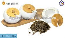 Ceramic Seasoning Pot with bamboo lid and base