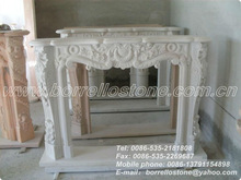 White Marble Stone Fireplace Outdoor