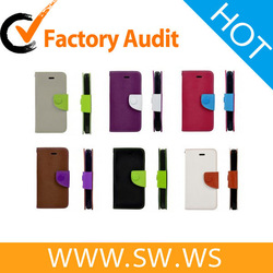 Mouse Grain PU Leather Magnetic Case With Card Slot For iPhone 5
