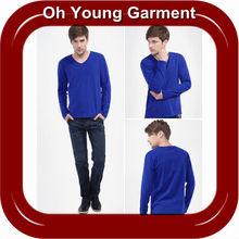 Azul de algodão homens t-shirts de manga longa