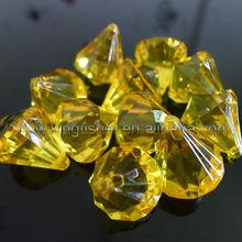 Bright Yellow colors acrylic diamond pendants beads!! Transparent acrylic faceted diamond pendants wholesales for jewelrys!! !!