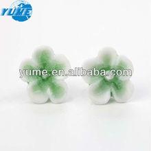 Bulk Supply Ceramic Craft Accessory/ Green Flower Shape Porcelain Earring Ornament/ Ear Stud Jewelry