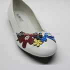 women fashion flat white shoe with colorful flower