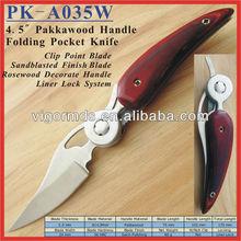 "(PK-A035W) 4.5"" Bird Shaped Pakkawood Lock Blade Pocket Knife"