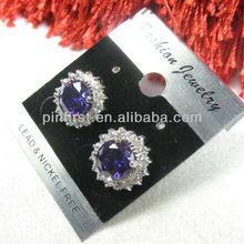Shine Elegant Amethyst CZ Women Jewelry Gemstone Silver Stud Earrings 16mm/best cubic zirconia earrings studs