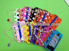 Polka Dot silicone Handbag soft skin Case for iPhone 4 4g 4s