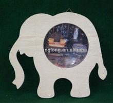 2013 new designed elegant unfinished carved wooden photo frame with elephant shaped wholesale