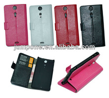 New pu sheep skin leather case for Sony Ericsson Xperia GX Lt29i