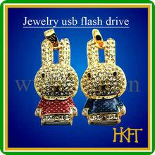 Rabbit necklace shape usb flash drive,2gb 4gb 8gb 16gb jewelry usb