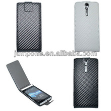 New Carbon fiber Wallet Leather Skin Pouch Cover Case For Sony Ericsson Nozomi LT26i