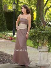 Satin Softly Curved Neckline Asymmetrical Wrapped Midriff Bodice A-Line Bridesmaids Dress