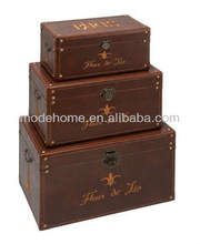 2013 New High Quality Cheap Set3 Paris Fleur De Lis Brown Wood Leather Storage Trunk