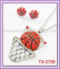 TS-2756 2013 Wholesale New Design Rhinestone Jewelry Basketball basketball wives earrings wholesale jewelry basketball graphic