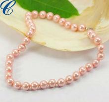 2013 Elegant lovely pink imitation pearl fashion necklace