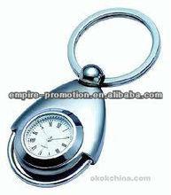 creative designs metal keychain with clock