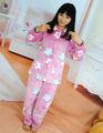 100% poliéster impresa paño grueso y suave de coral de la muchacha pijama/ropa de dormir/traje de vestir