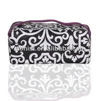 2013 fashion black and white pattern satin nylon cosmetic bag