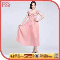 Tea Length Chiffon Pink Long Cocktail Dress for Prom Night