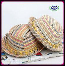 hot sale summer Bohemia colorful fedora caps kids straw hats
