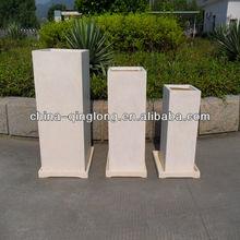 Resin Fiberglass Flower Planter Pot With Trays Plant Box Container 3pcs/set QL-66155