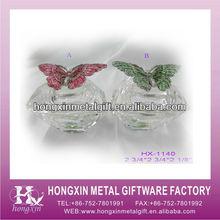 HX-1140 Metal butterfly glass marble jewelry box