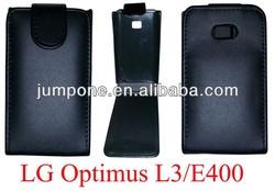 New Black Shine flip Leather Case for LG E400 Optimus L3