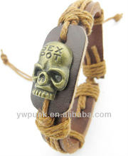 lots cheap unisex new personalized antique brass skull head leather cord bracelets wholesale