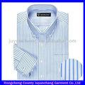 Clásica de algodón azul& blanco vestido de los hombres de camisa camisa de rayas