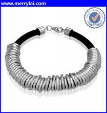 Contemporary Women's Black Rubber & Stainless Steel Bracelet (ML-13-YO0410-005)