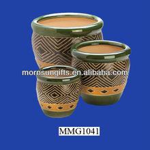 Perfect decor ceramic 3 piece glazed ceramic planters