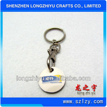 Plain trolley coin clock keyring for promotional gifts