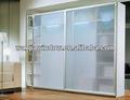armario de aluminio de la puerta de vidrio diseños puerta corredera de foshan wanjia precio factroy