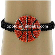 2013 hot selling sport themed cord woven adjustable bracelet -basketball