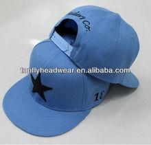 Custome headwear six panel cap light blue acrylic star embroidery snapback cap and baseball hat sports cap