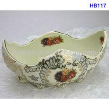 "8"" Gold ingot shape porcelain decorative fruit bowl HB117"