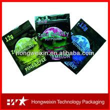 Zero Gravity 12g aluminum foil spice zipper bags / herbal incense potpourri ziplock bags with high quality