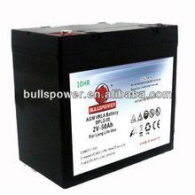 2 volt lead acid battery 2V50AH (VRLA) long life battery for ups,telecom