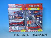 3D die-cast 1:87 scale model fire trucks play set