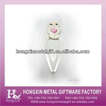 HX-1197 White pewter owl metal paper bookmark pen