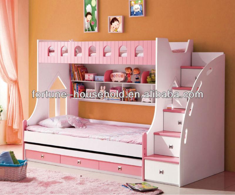 Madera maciza cama de matrimonio diseños, Literas con escaleras, Muebles de los niños barato literas